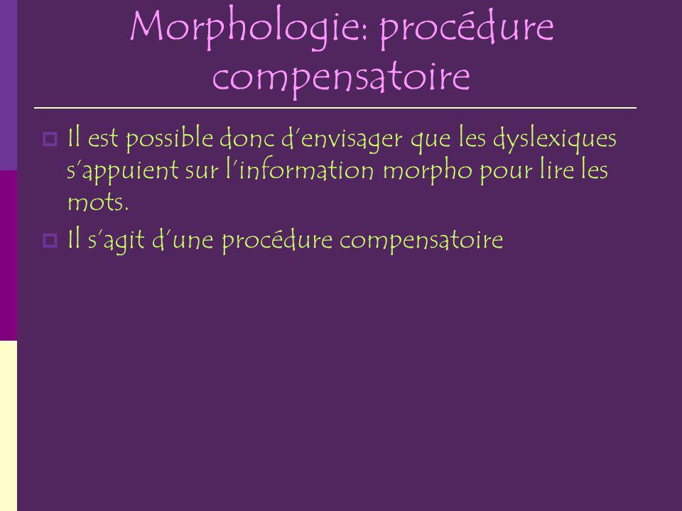Morphologie: procédure compensatoire
