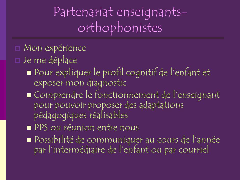 Partenariat enseignants-orthophonistes