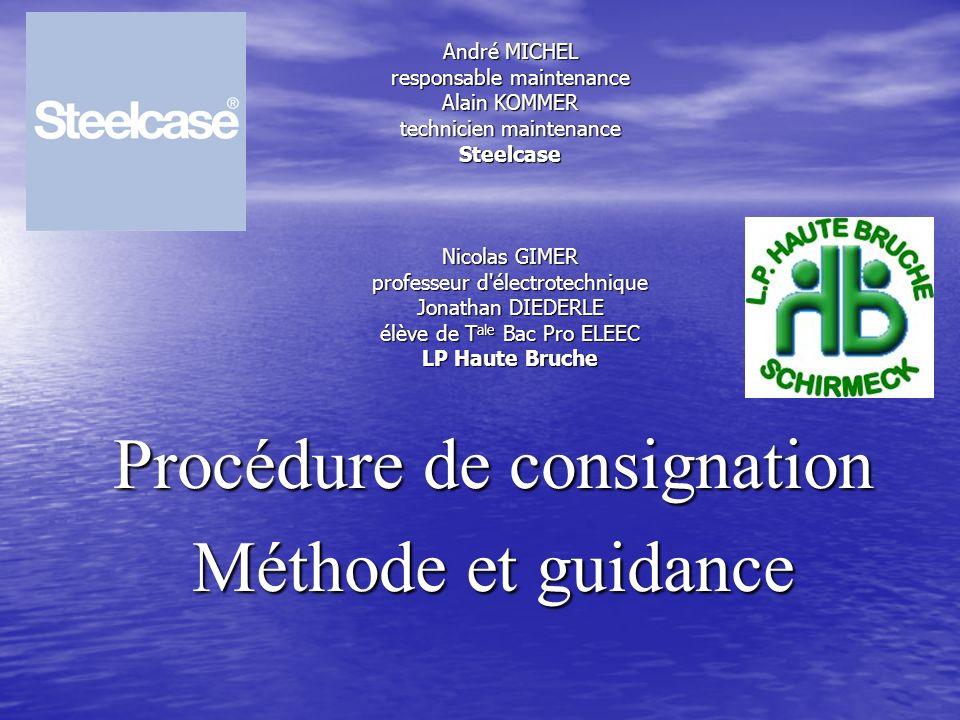 Procédure de consignation Méthode et guidance