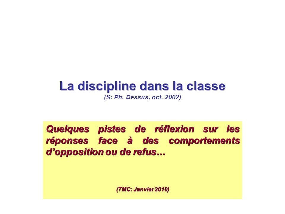 La discipline dans la classe (S: Ph. Dessus, oct. 2002)