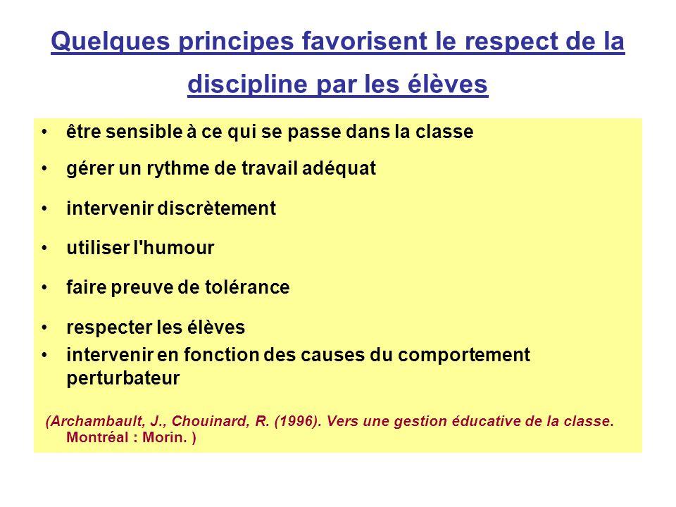 Quelques principes favorisent le respect de la discipline par les élèves