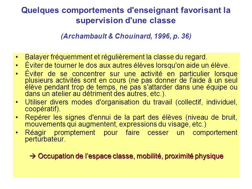  Occupation de l'espace classe, mobilité, proximité physique
