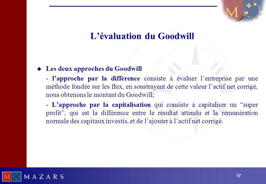 L'évaluation du Goodwill