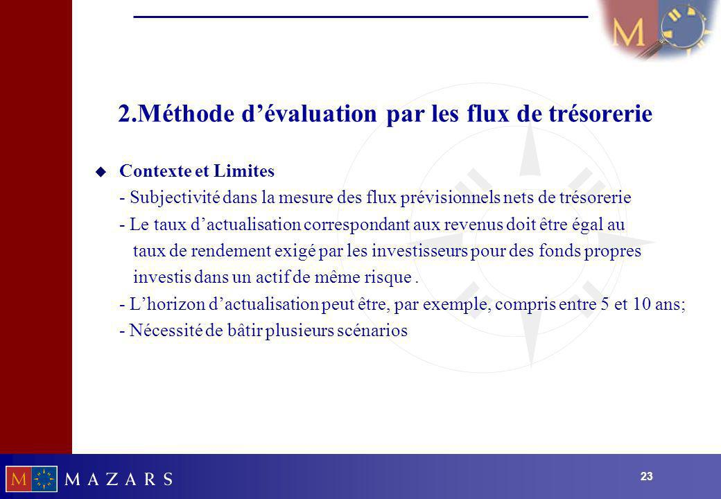 2.Méthode d'évaluation par les flux de trésorerie