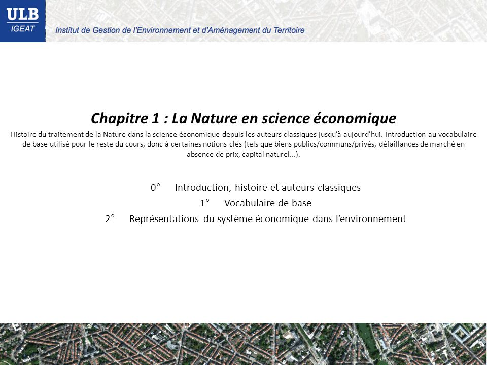 Chapitre 1 : La Nature en science économique