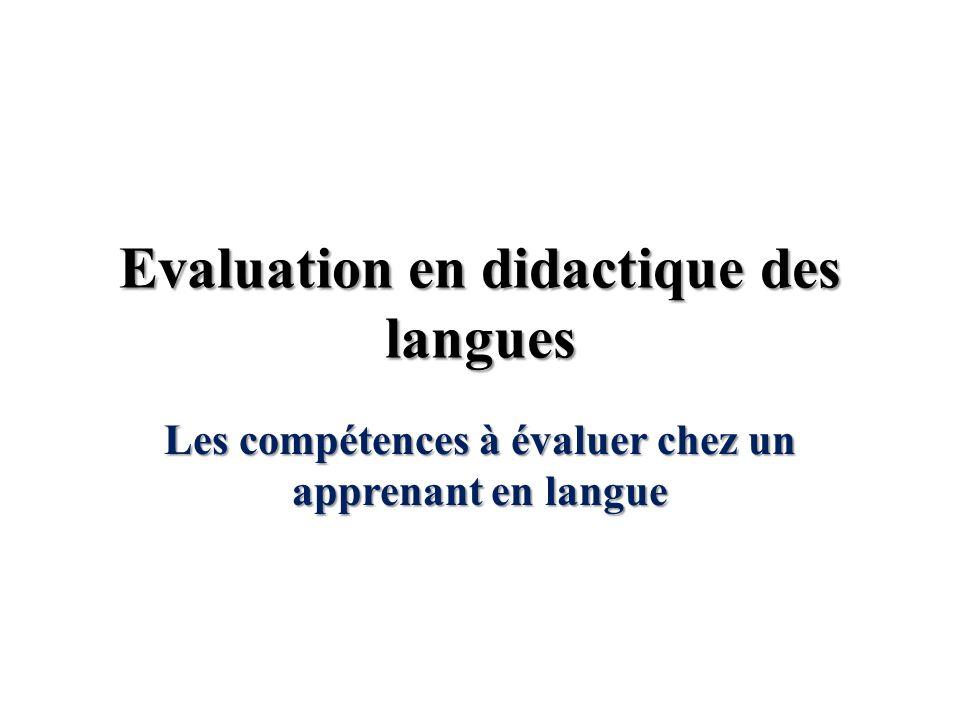 Evaluation en didactique des langues
