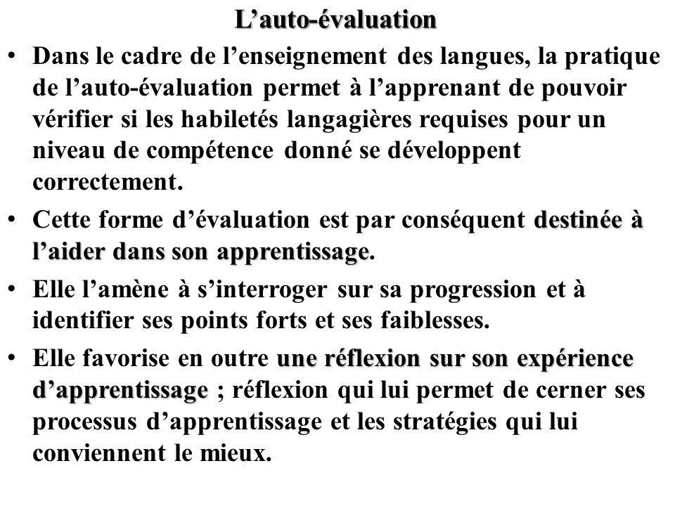L'auto-évaluation