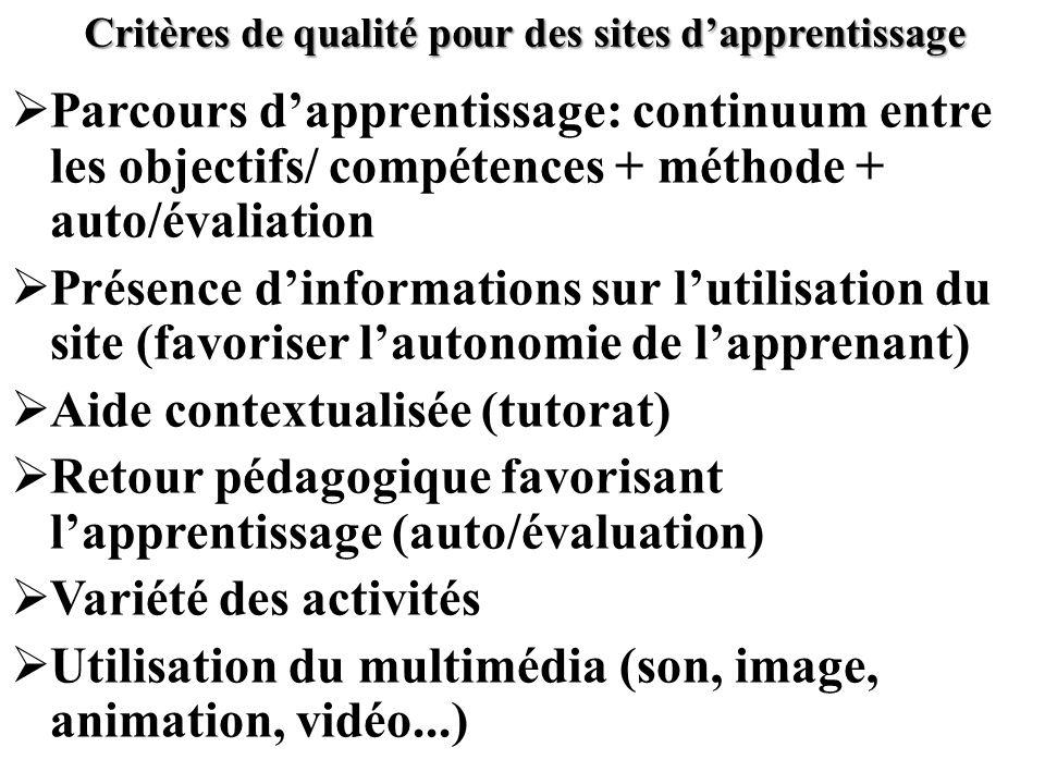 Critères de qualité pour des sites d'apprentissage