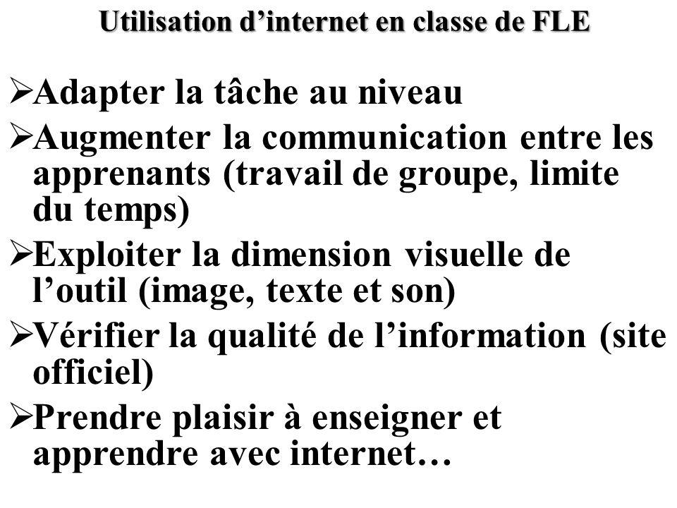 Utilisation d'internet en classe de FLE