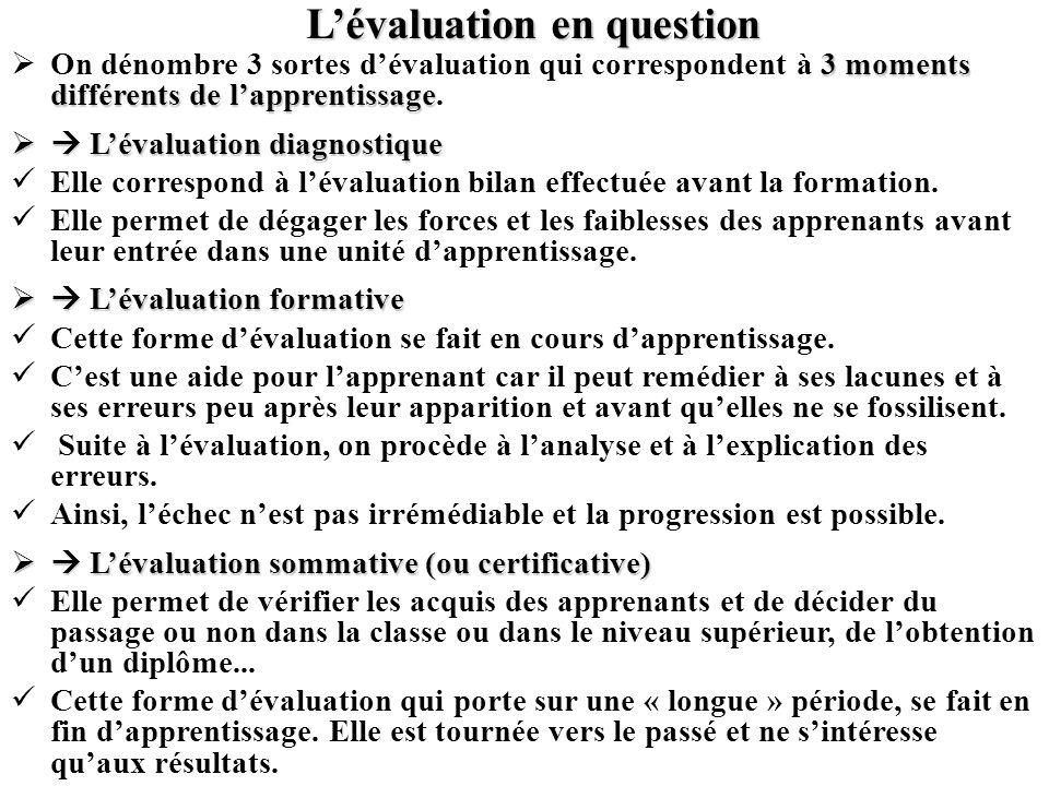 L'évaluation en question