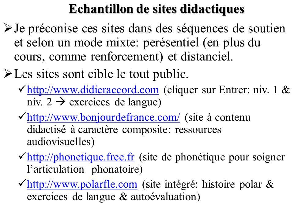 Echantillon de sites didactiques