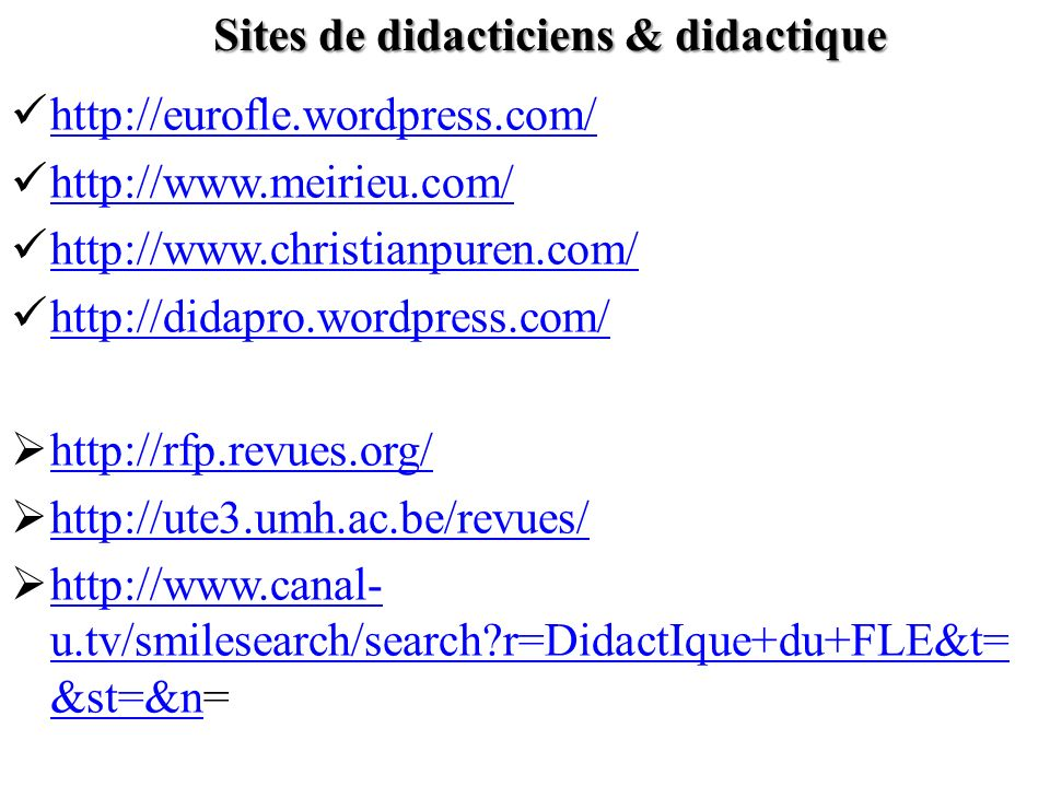 Sites de didacticiens & didactique