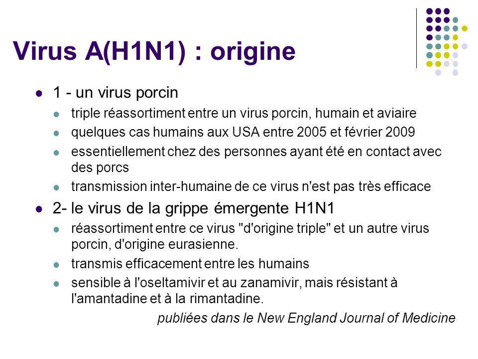 Virus A(H1N1) : origine 1 - un virus porcin
