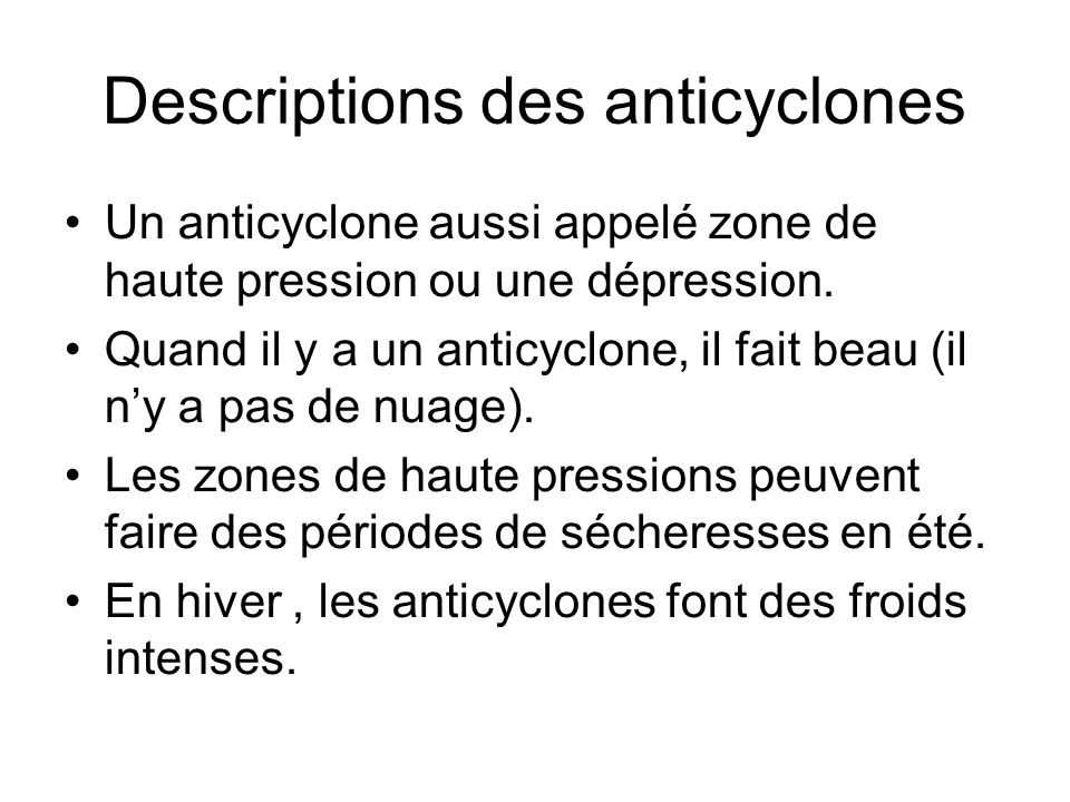 Descriptions des anticyclones