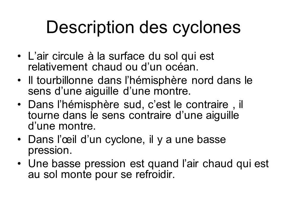 Description des cyclones