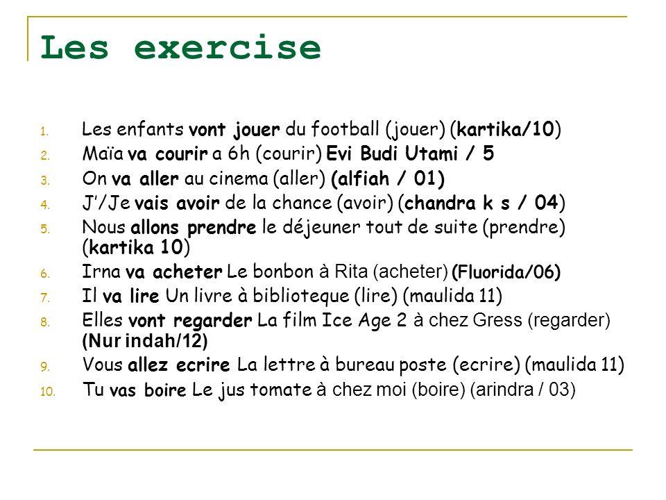 Les exercise Les enfants vont jouer du football (jouer) (kartika/10)