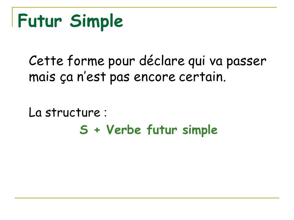 Futur SimpleCette forme pour déclare qui va passer mais ça n'est pas encore certain. La structure :