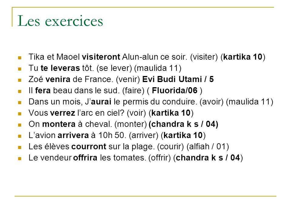 Les exercicesTika et Maoel visiteront Alun-alun ce soir. (visiter) (kartika 10) Tu te leveras tôt. (se lever) (maulida 11)