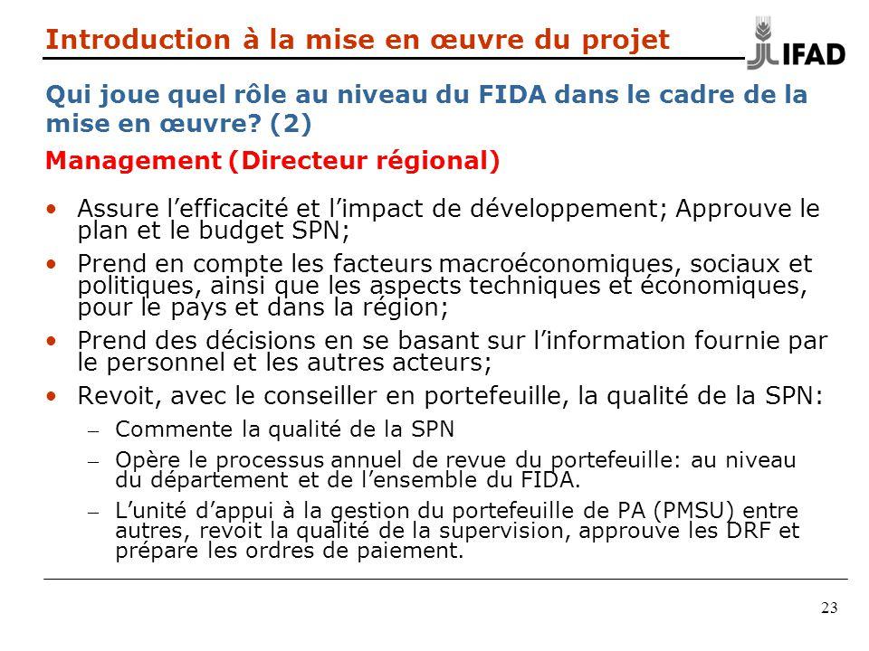 Introduction à la mise en œuvre du projet Qui joue quel rôle au niveau du FIDA dans le cadre de la mise en œuvre (2)