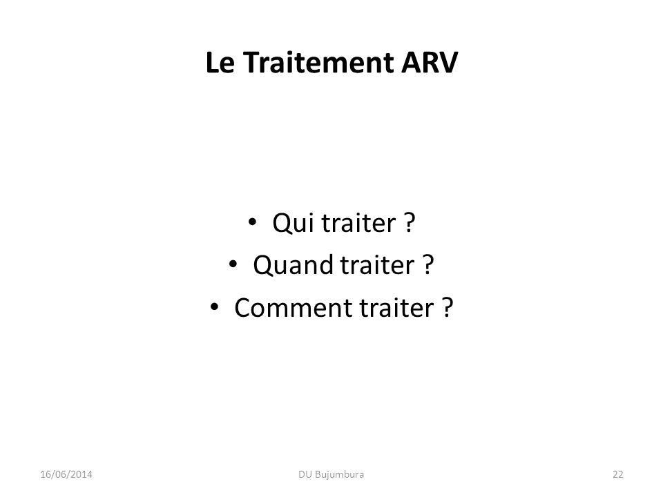 Le Traitement ARV Qui traiter Quand traiter Comment traiter