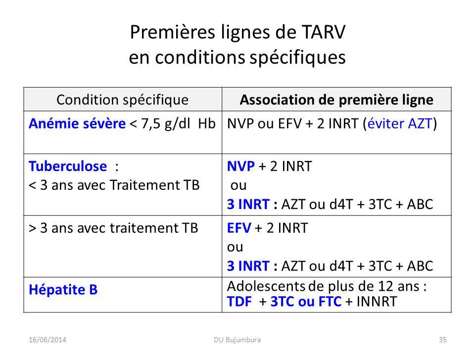 Premières lignes de TARV en conditions spécifiques