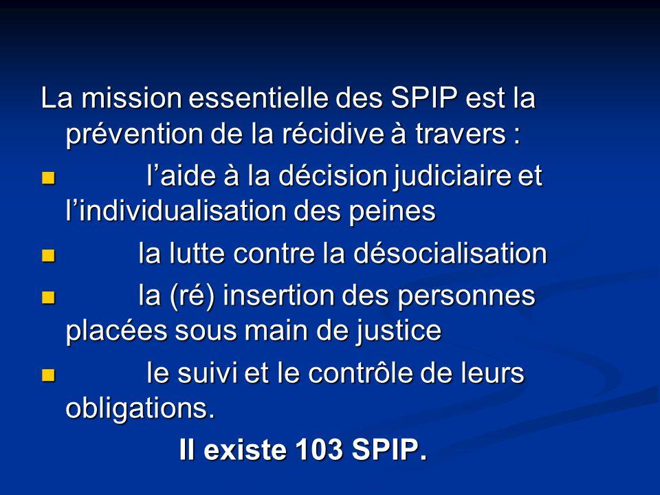 La mission essentielle des SPIP est la prévention de la récidive à travers :