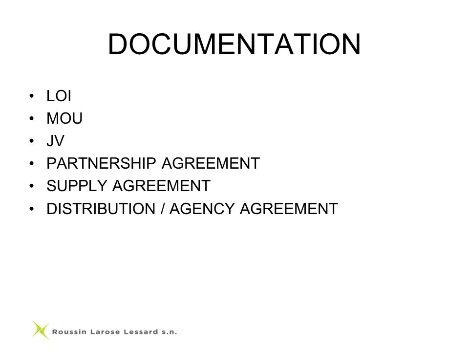 DOCUMENTATION LOI MOU JV PARTNERSHIP AGREEMENT SUPPLY AGREEMENT