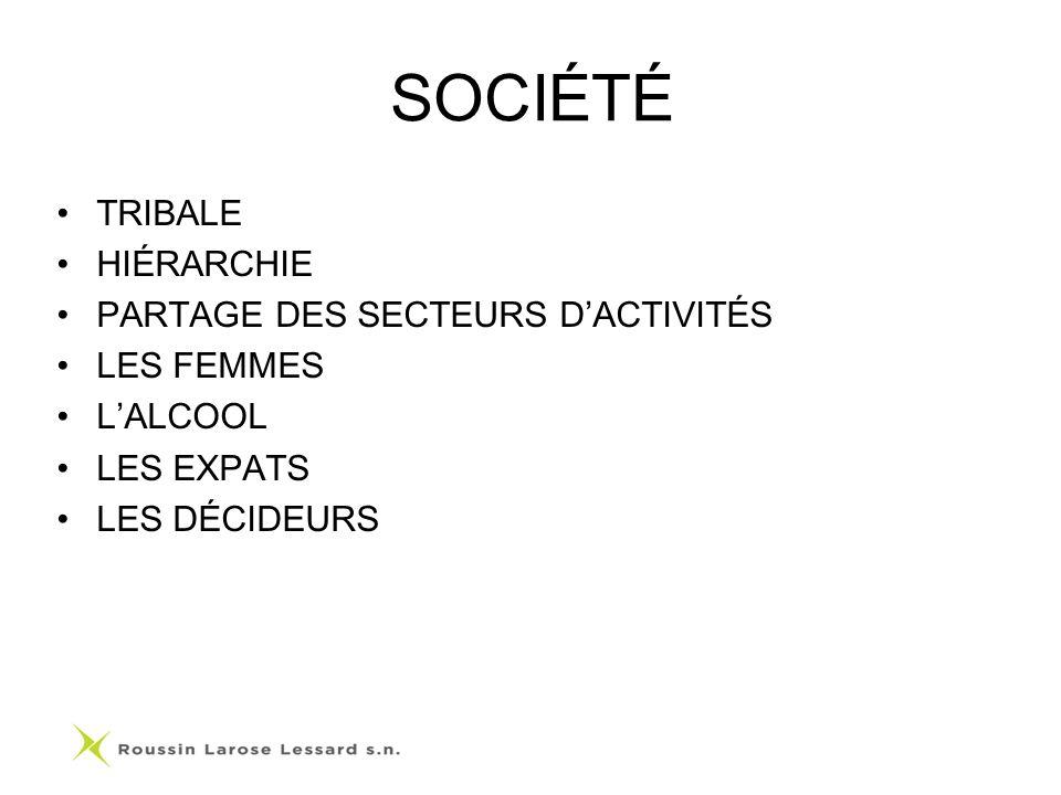 SOCIÉTÉ TRIBALE HIÉRARCHIE PARTAGE DES SECTEURS D'ACTIVITÉS LES FEMMES
