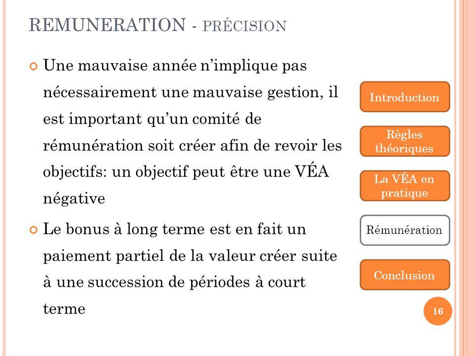 REMUNERATION - précision