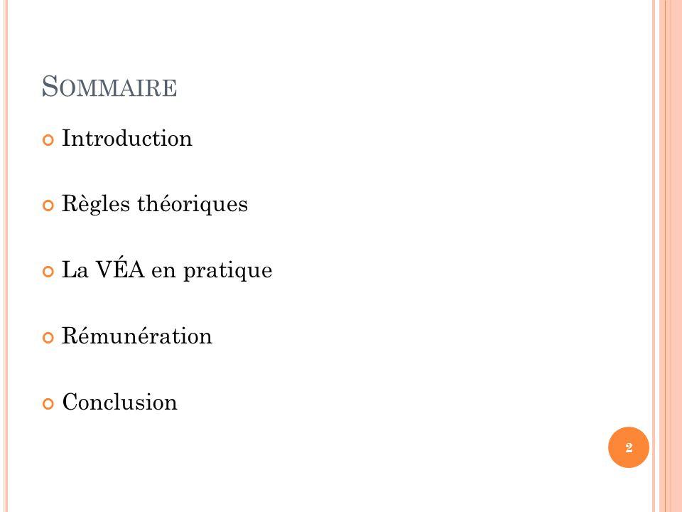 Sommaire Introduction Règles théoriques La VÉA en pratique