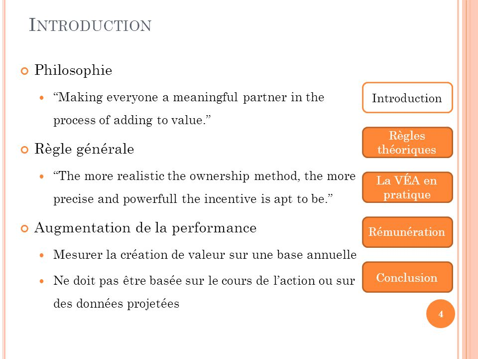 Introduction Philosophie Règle générale Augmentation de la performance