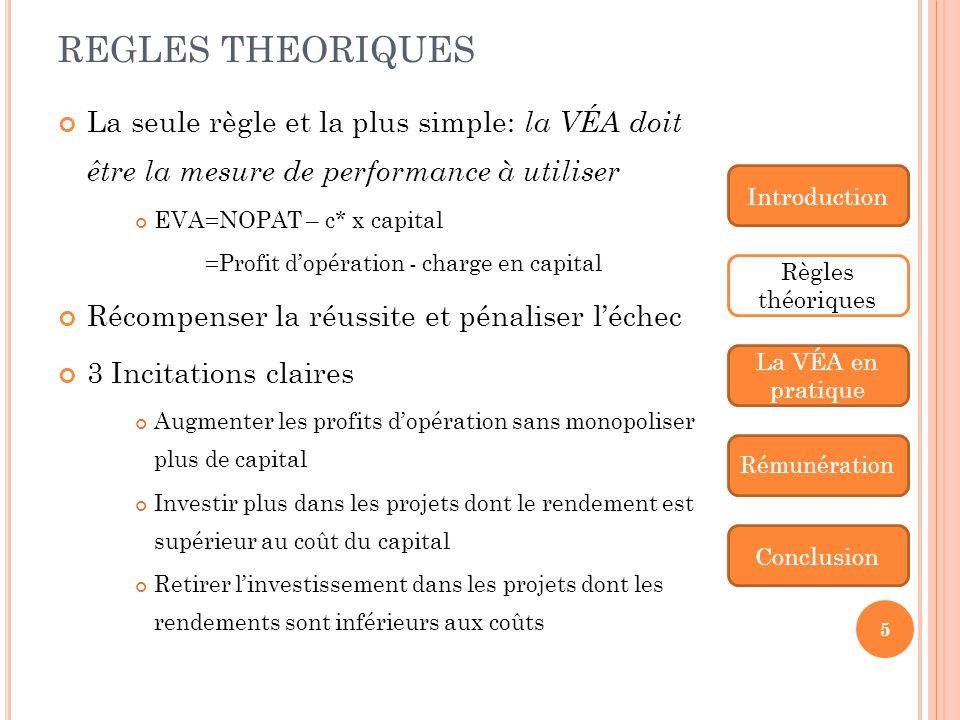 REGLES THEORIQUES La seule règle et la plus simple: la VÉA doit être la mesure de performance à utiliser.