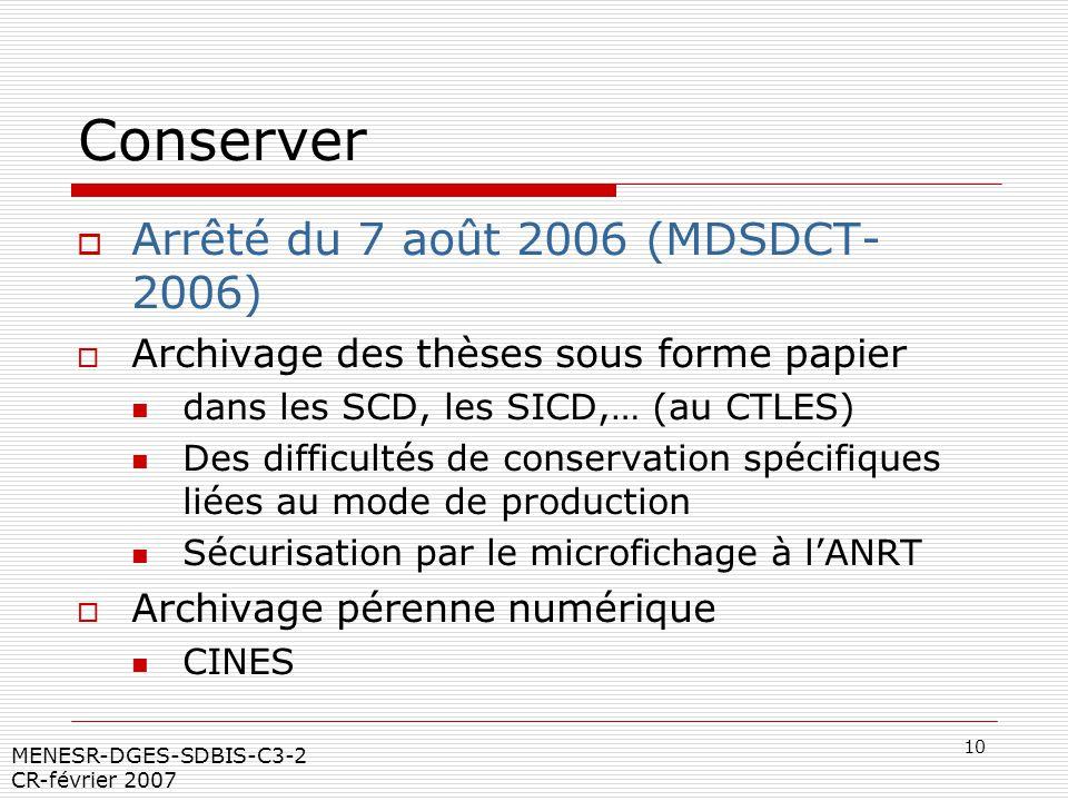 Conserver Arrêté du 7 août 2006 (MDSDCT- 2006)