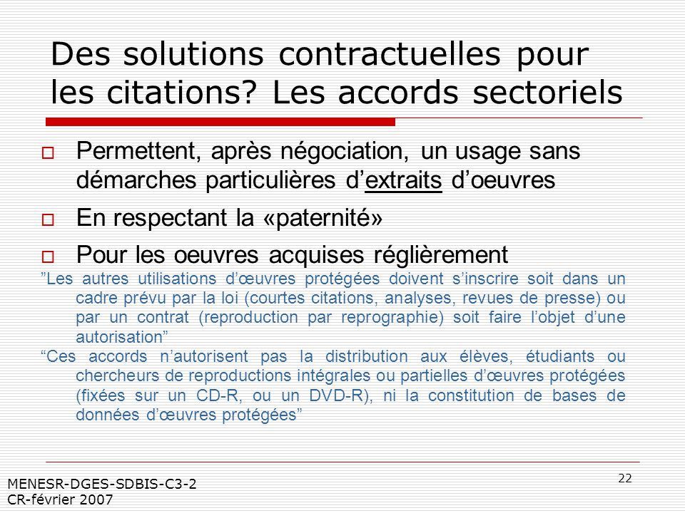 Des solutions contractuelles pour les citations Les accords sectoriels