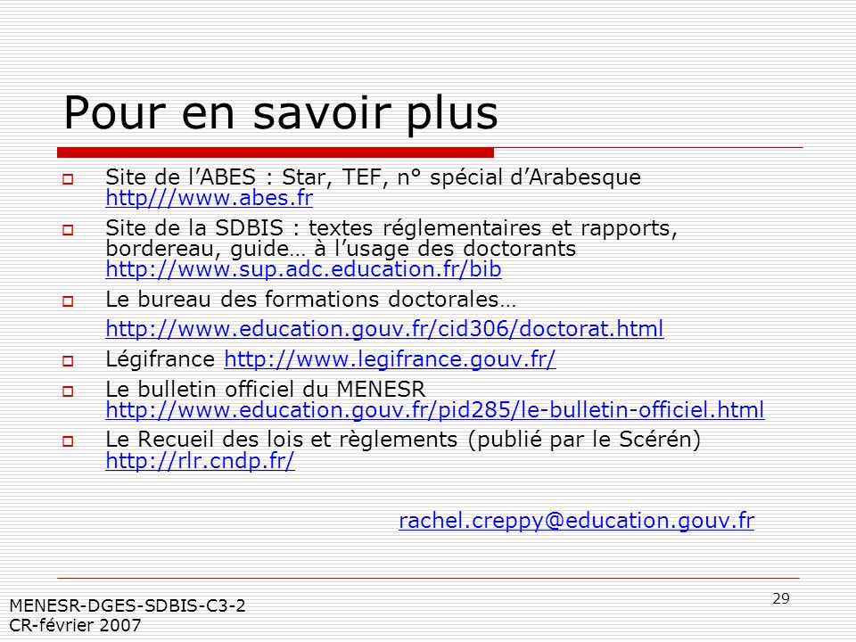 Pour en savoir plus Site de l'ABES : Star, TEF, n° spécial d'Arabesque http///www.abes.fr.