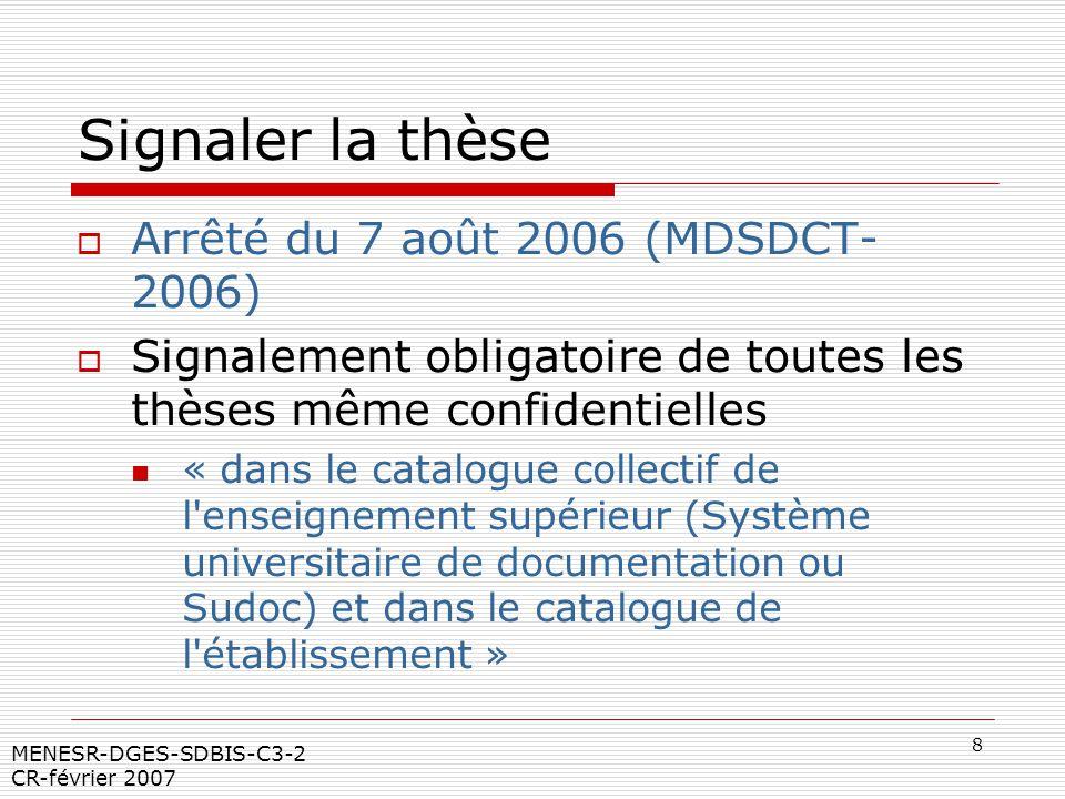 Signaler la thèse Arrêté du 7 août 2006 (MDSDCT- 2006)