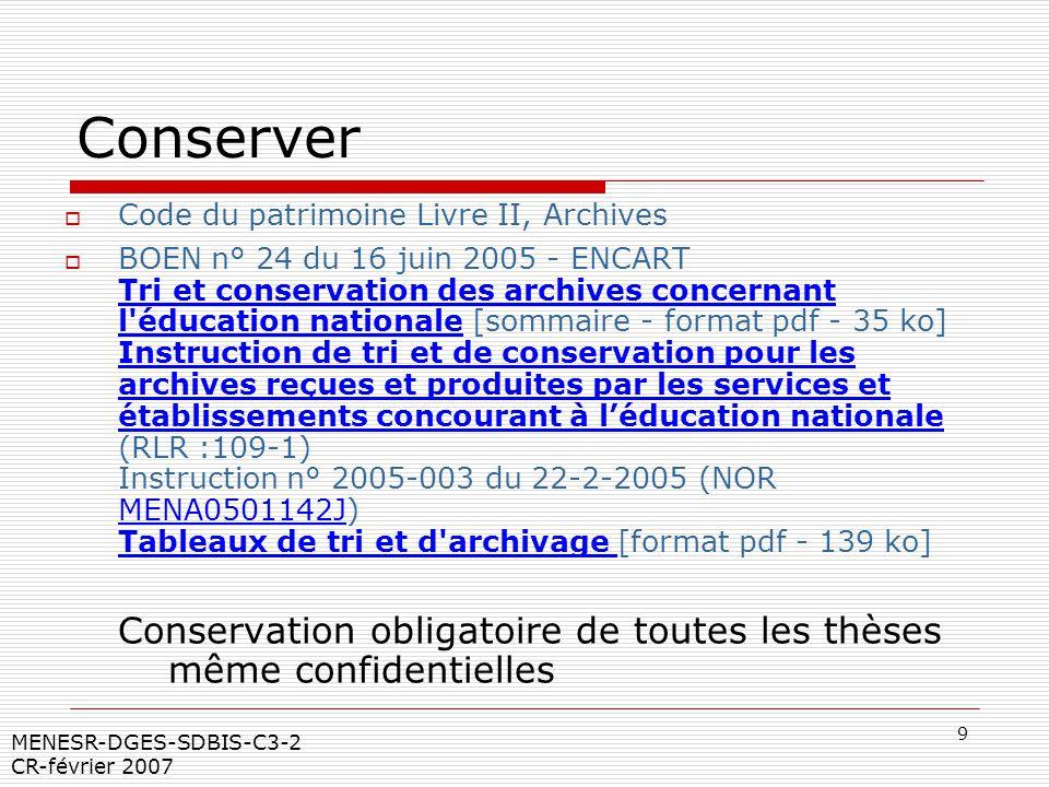 Conserver Code du patrimoine Livre II, Archives.