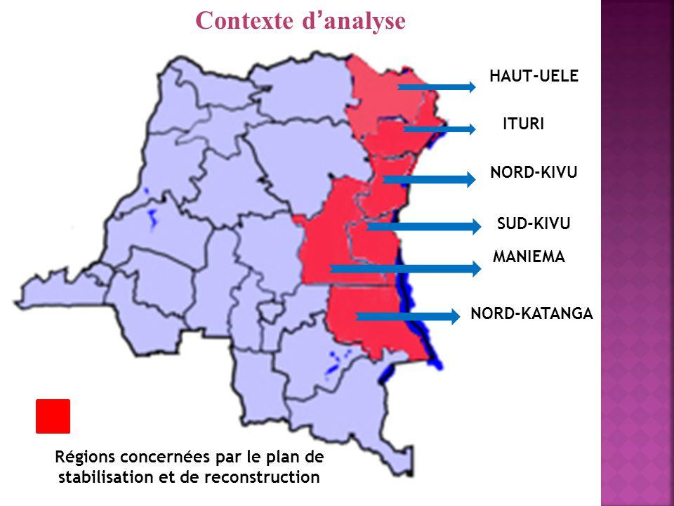 Régions concernées par le plan de stabilisation et de reconstruction