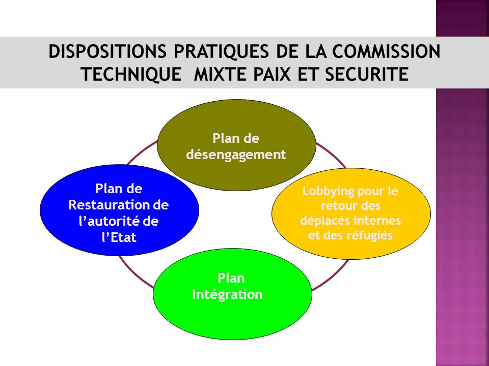 DISPOSITIONS PRATIQUES DE LA COMMISSION TECHNIQUE MIXTE PAIX ET SECURITE