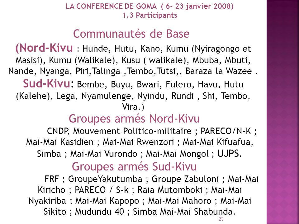 LA CONFERENCE DE GOMA ( 6- 23 janvier 2008)