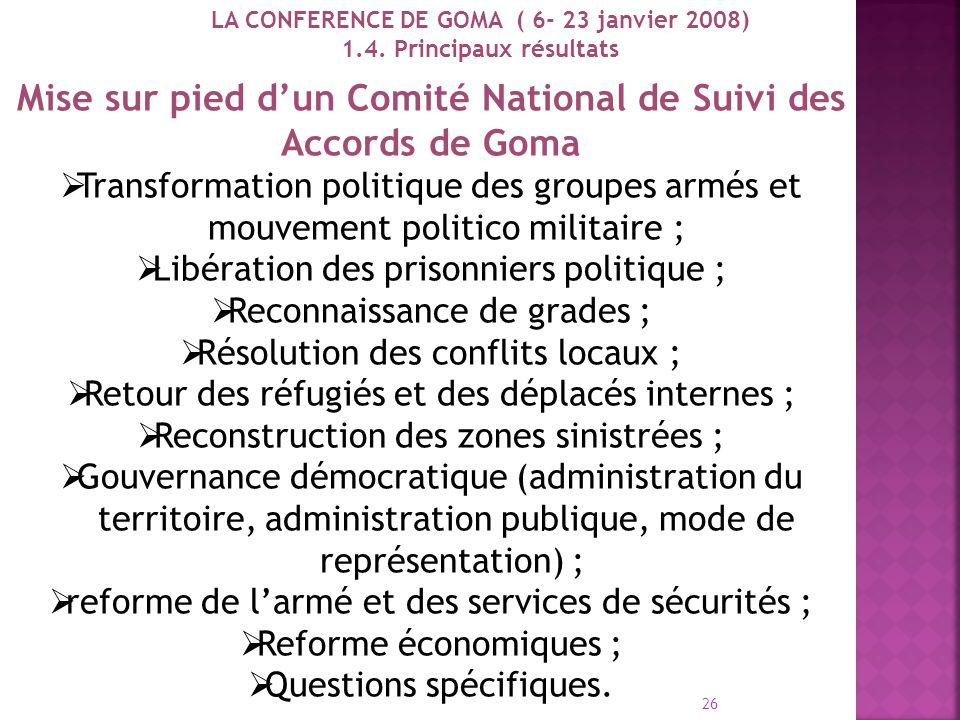 Mise sur pied d'un Comité National de Suivi des Accords de Goma