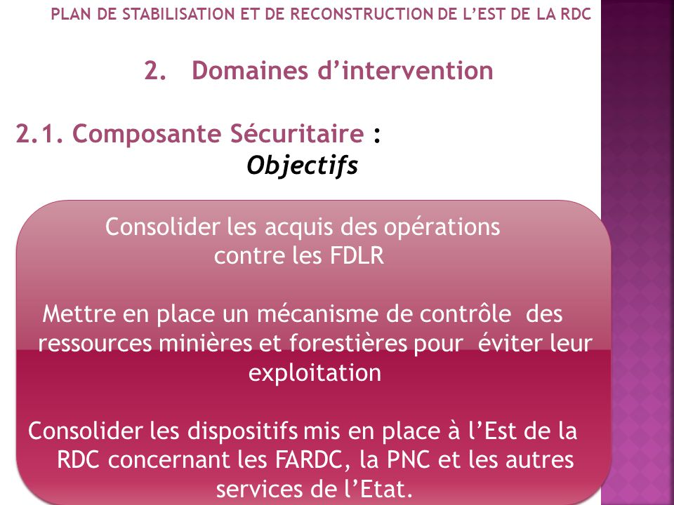 PLAN DE STABILISATION ET DE RECONSTRUCTION DE L'EST DE LA RDC
