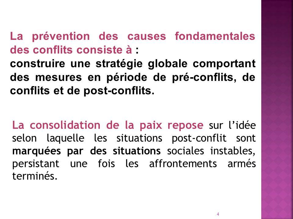 La prévention des causes fondamentales des conflits consiste à :