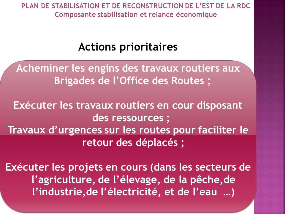 Actions prioritaires Acheminer les engins des travaux routiers aux