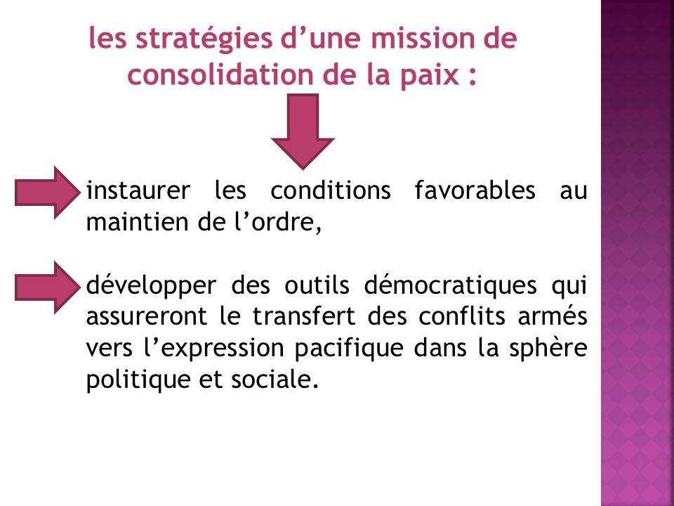 les stratégies d'une mission de consolidation de la paix :