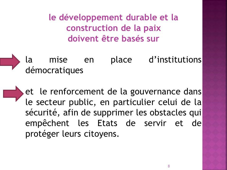 le développement durable et la construction de la paix