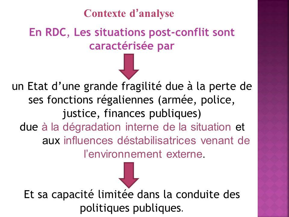 En RDC, Les situations post-conflit sont caractérisée par