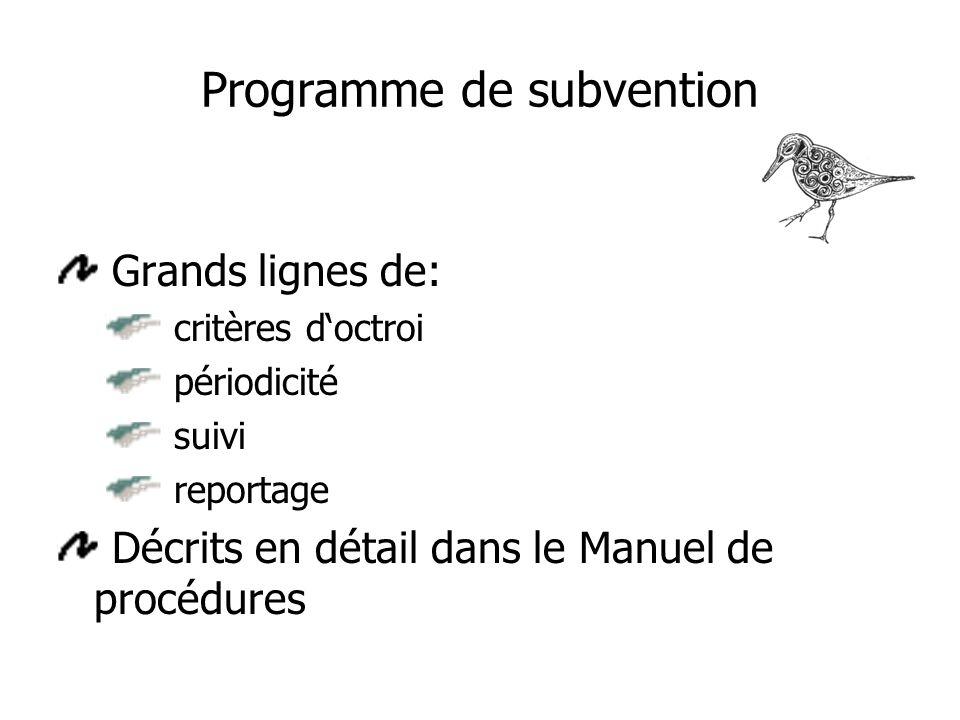 Programme de subvention