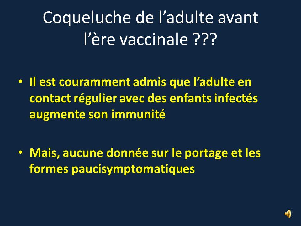 Coqueluche de l'adulte avant l'ère vaccinale