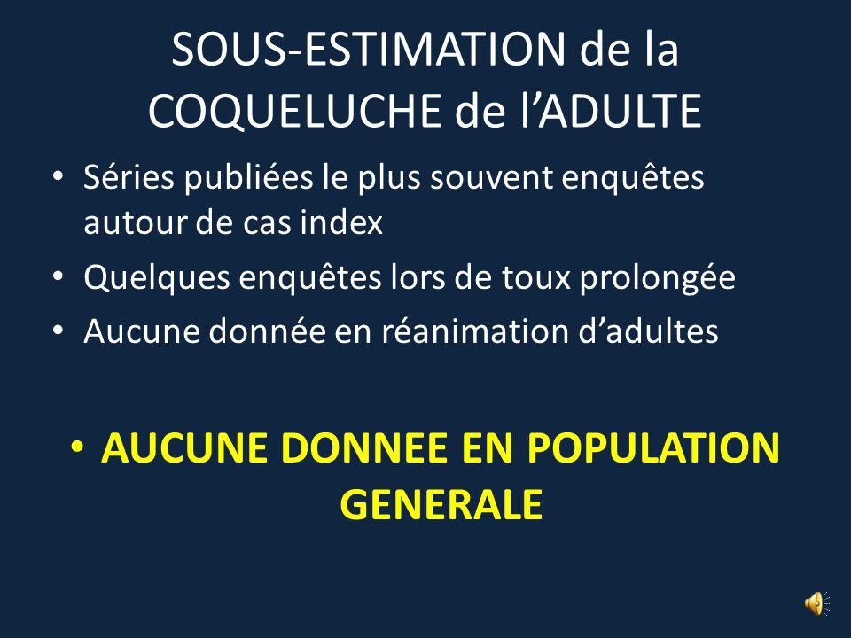 SOUS-ESTIMATION de la COQUELUCHE de l'ADULTE